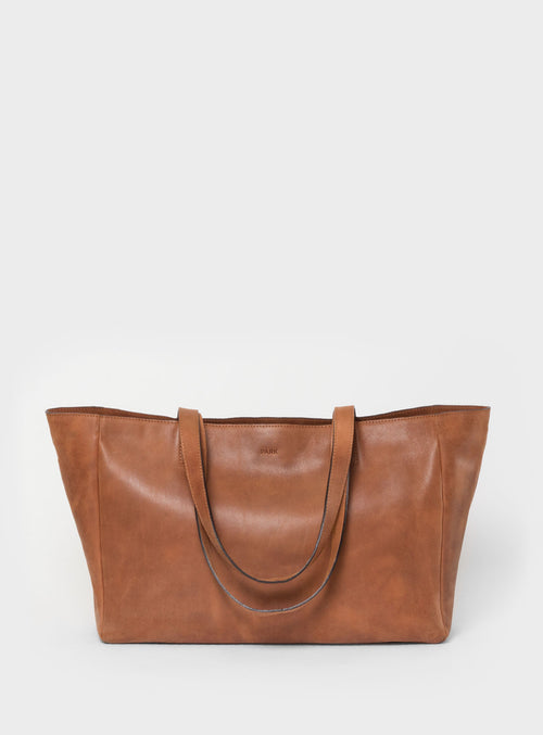 TB03 ZIP Tote Bag Brown  - View 1