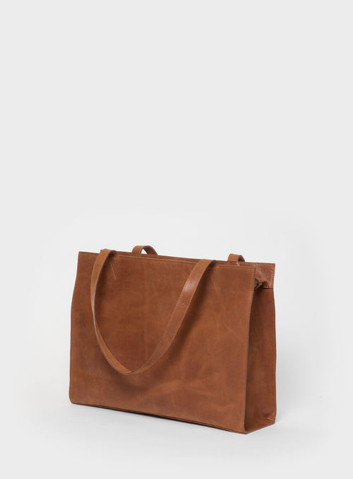 TB05 ZIP Tote Bag Brown  - View 1