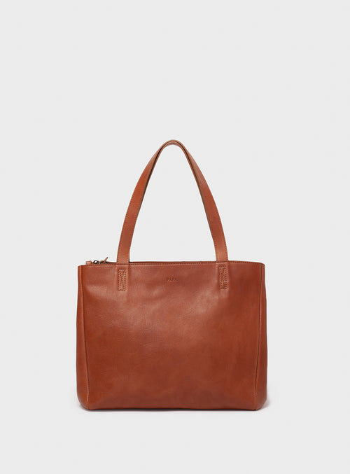TB06 ZIP Tote Bag Brown - View 2