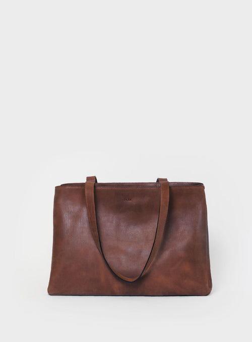 TB03 ZIP Tote Bag Dark-Brown - View 2