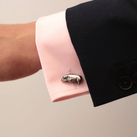 The Blackened Victorian Toy Pig Cufflinks in Salvaged Silver