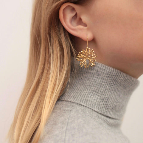 The Larger Agwe Coral Earrings in Salvaged Gold