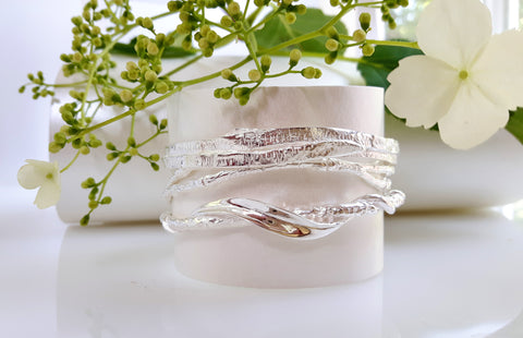 Foresta stacking bangles in sterling silver by Palenque Jewellery