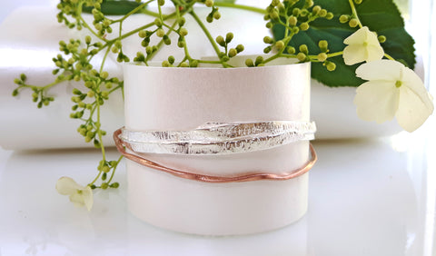 Foresta orla bangle & lattice rose gold by Palenque Jewellery