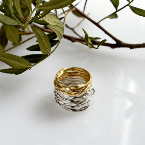 Lattice sterling silver & gold plated rings