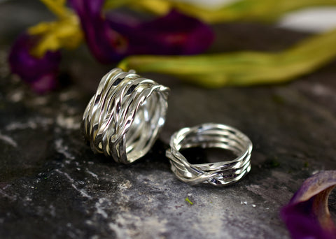 Lattice thin & wide sterling silver rings
