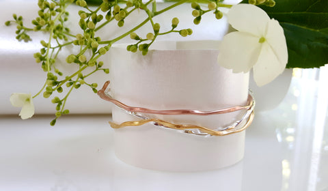 lattice sterling silver & gold plated bangles