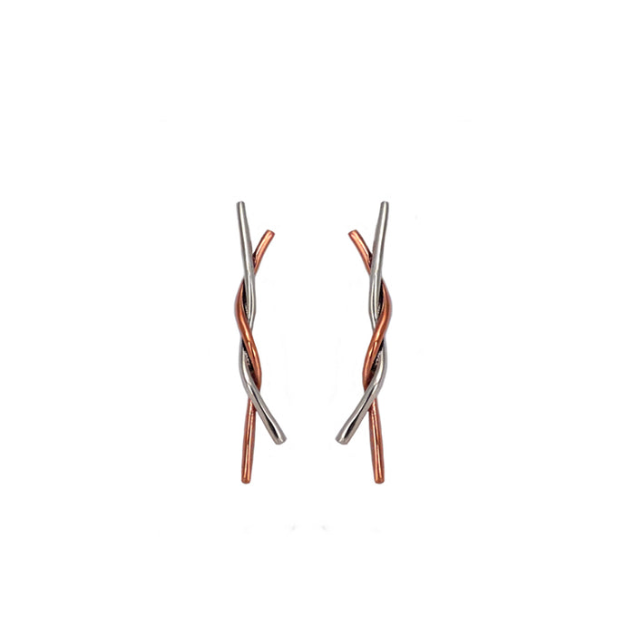 Duo Lyra Silver/Copper Stud Earrings