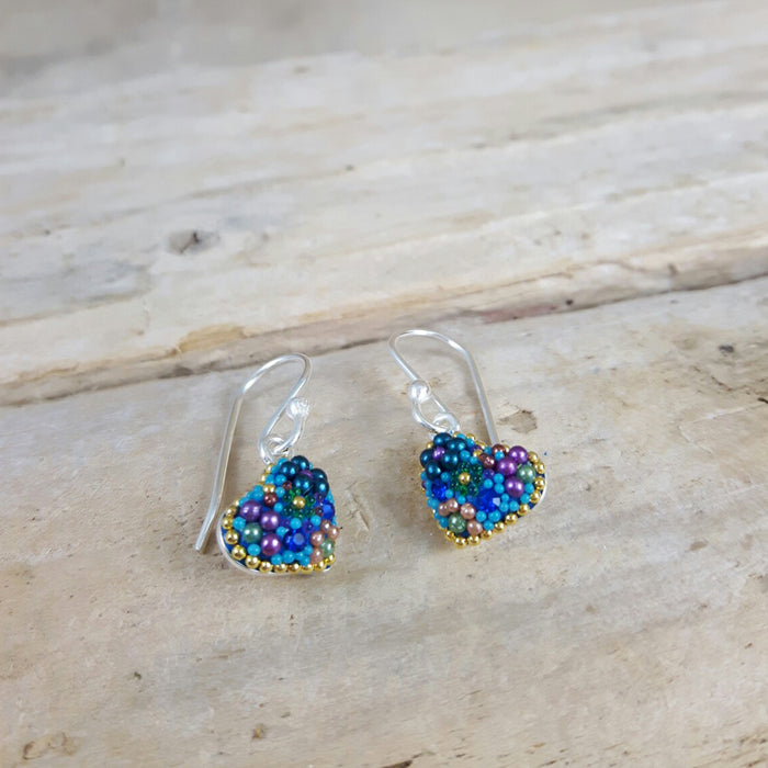 Allegra Heart Tutti Frutti Blue Drop Earrings