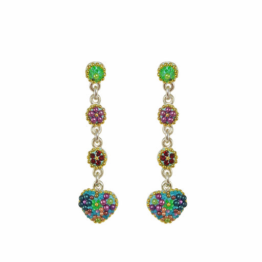 Allegra Heart Tutti Frutti Blue Long Drop Earrings