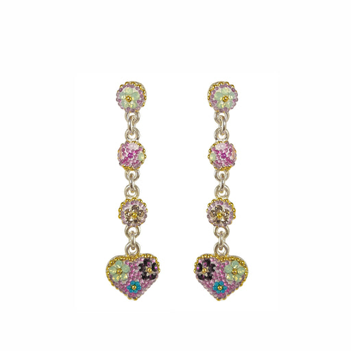 Allegra Heart Tutti Frutti Pink Long Drop Earrings