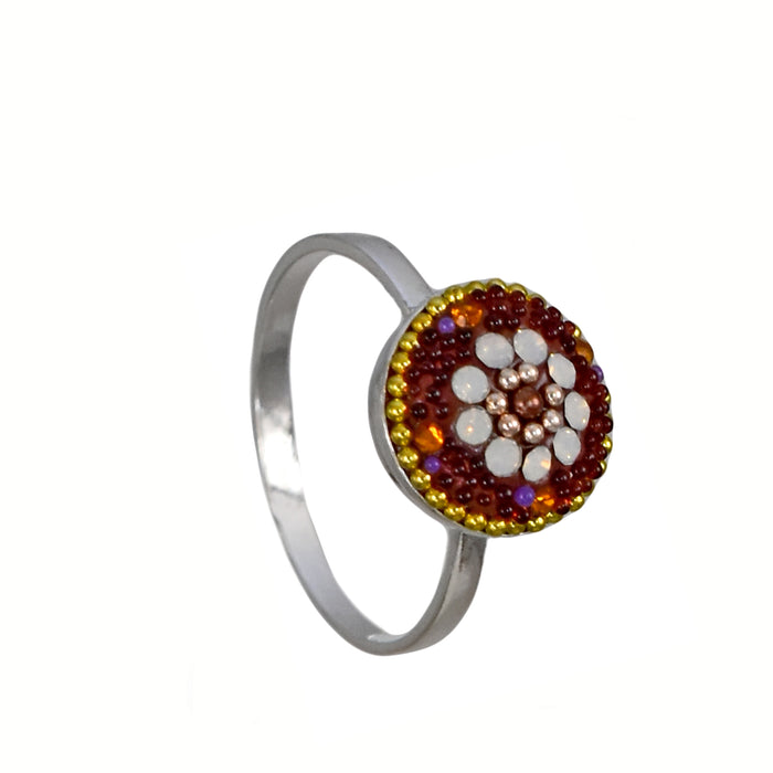 Allegra Round Berry Daisy Dainty Ring