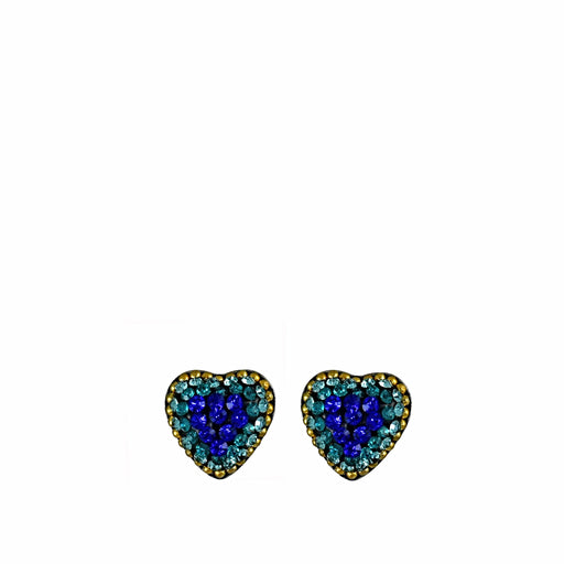 Allegra Blue Heart Stud Earrings