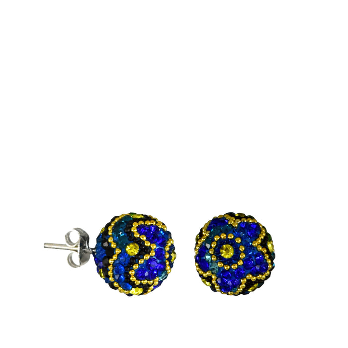 Allegra Blue Sphere Stud Earrings