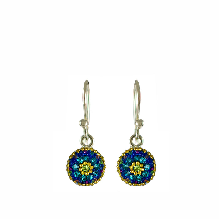 Allegra Dazzle Tq Round Daisy Drop Earrings