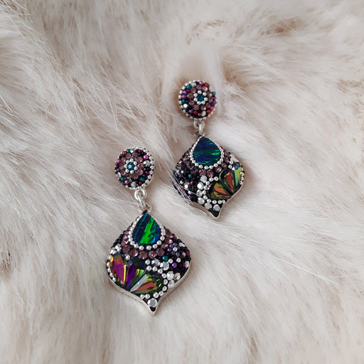 Allegra Emerald Bauble Double Drop Earrings