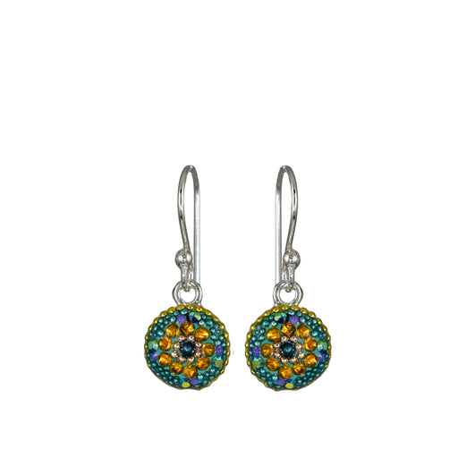Allegra Emerald Round Daisy Drop Earrings