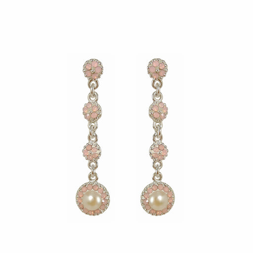 Allegra Pearl Pink Long Drop Earrings