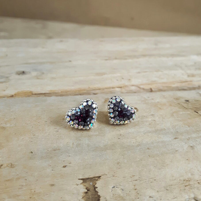 Allegra Purple Heart Stud Earrings