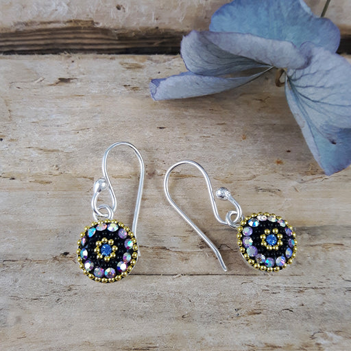 Allegra Purple Shimmer Round Daisy Drop Earrings