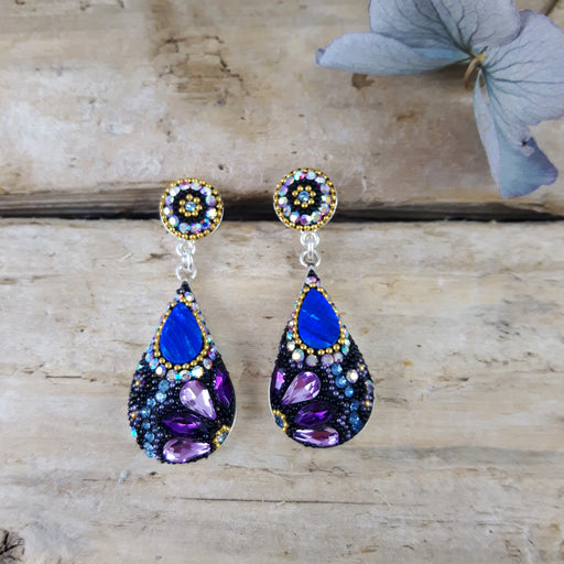 Allegra Purple Shimmer Double Drop Earrings