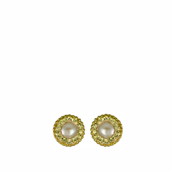 Allegra Pearl Yellow Gold Stud Earrings
