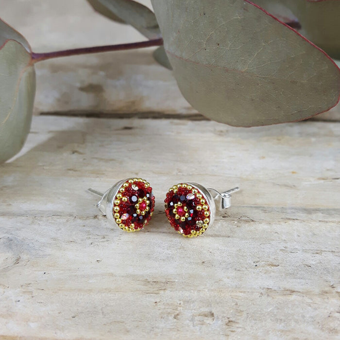 Allegra Red Daisy Stud Earring