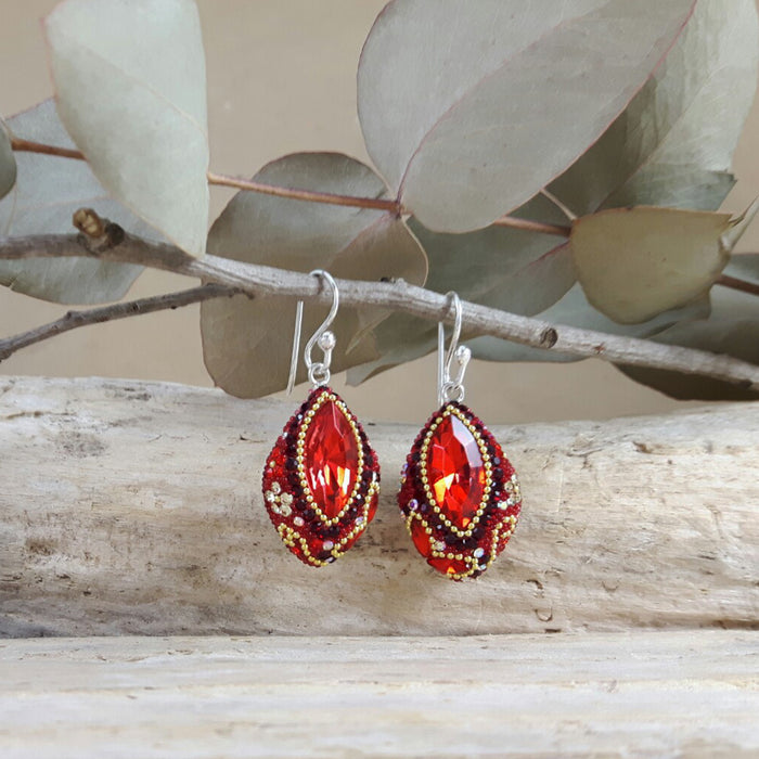Allegra Red Drop Earrings