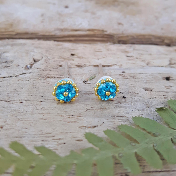 Allegra Tiny Aquamarine Stud Earrings