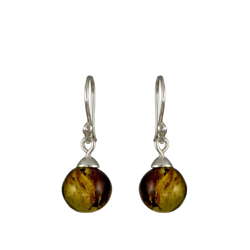 Amber Ball Drop Earrings