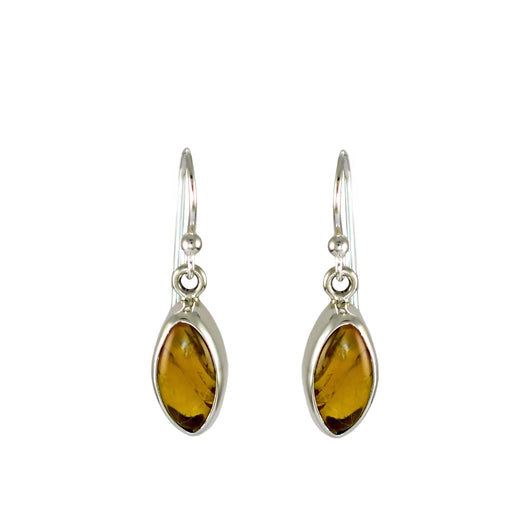 Amber Dainty Leaf Drop Earrings