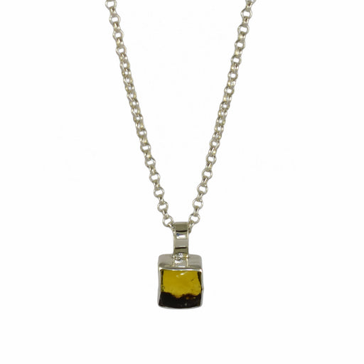 Amber Dainty Square Pendant
