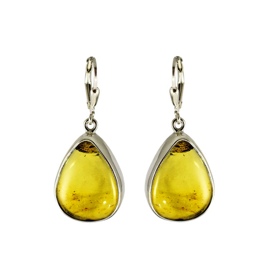 Amber Medium Bezel Drop Earrings