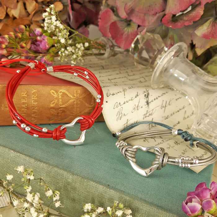 Amore Heart Red Leather Bracelet