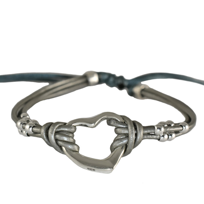 Amore Heart Silver Leather Bracelet
