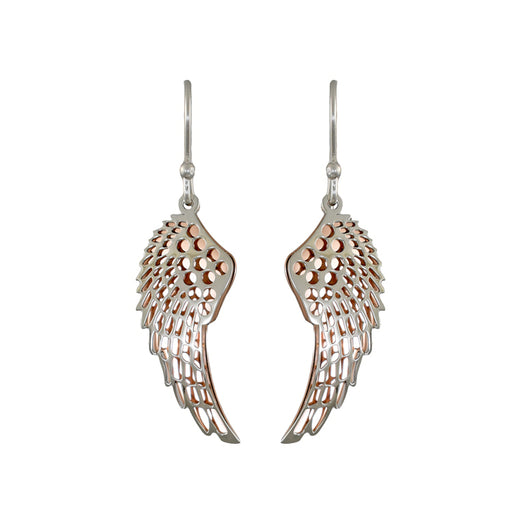 Celtic Angel Wing Silver/Copper Drop Earrings