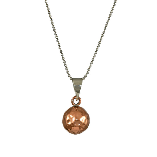 Duo Bola Copper Hammered Pendant