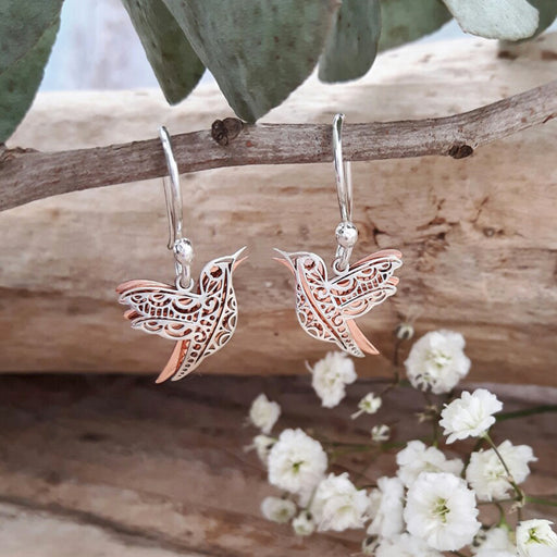 Celtic Dove Silver/Copper Drop Earrings