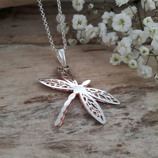 Celtic Dragonfly Silver/Copper Pendant