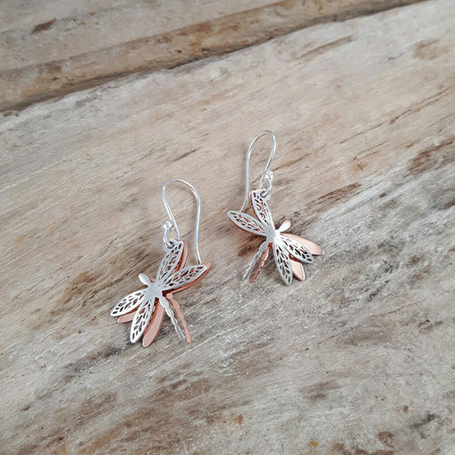 Celtic Dragonfly Silver/Copper Drop Earrings