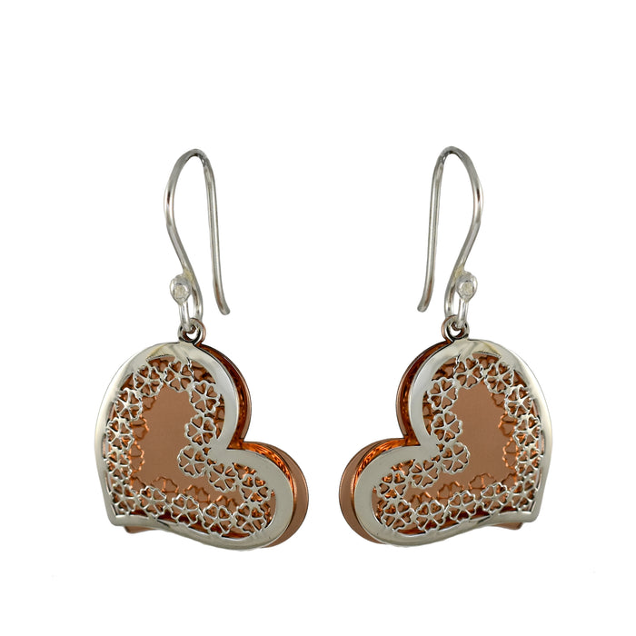 Celtic Heart Silver/Copper Drop Earrings