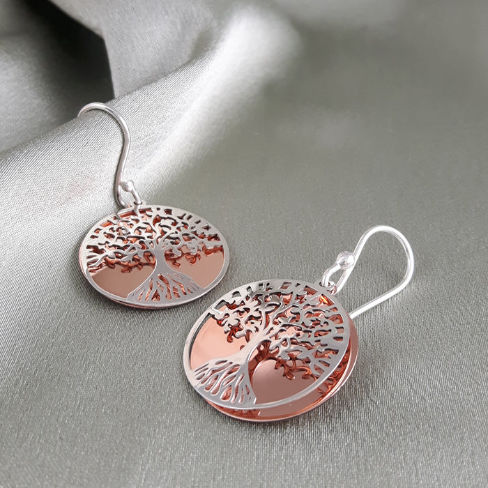 Celtic Tree Of Life Silver/Copper Drop Earrings
