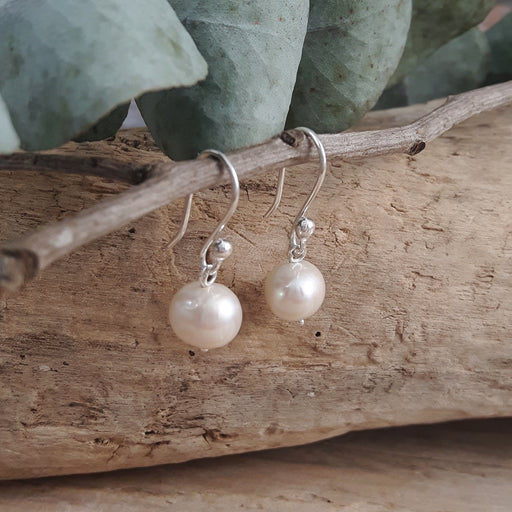 Classic Small White Pearl Drop Earrings