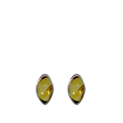 Amber Dainty Leaf Stud Earrings