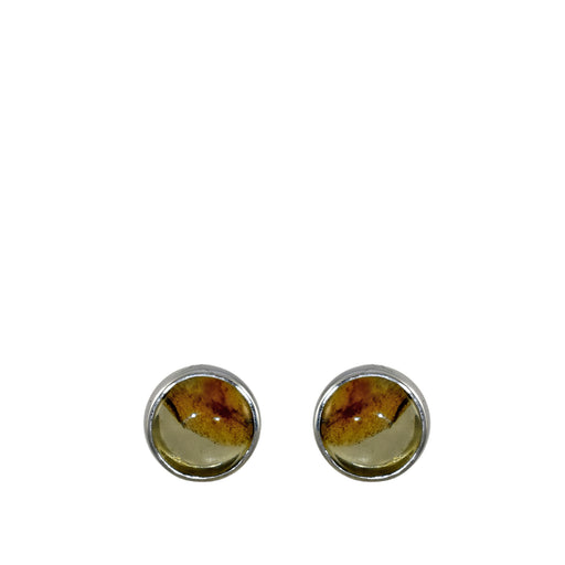Amber Dainty Round Stud Earrings