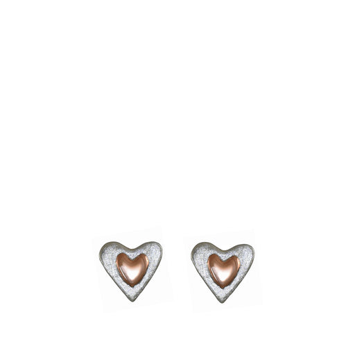 Duet Heart Silver/Copper Stud Earrings