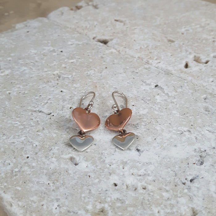 Duo Heart AG/CU Drop Earrings