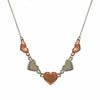 Duo heart copper/silver necklace