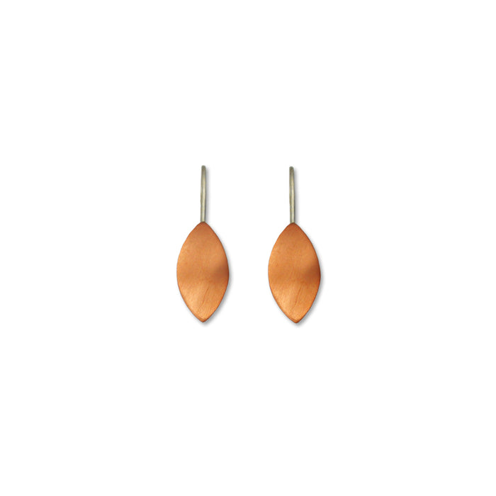 Leaf Copper Matt Drop Earrings