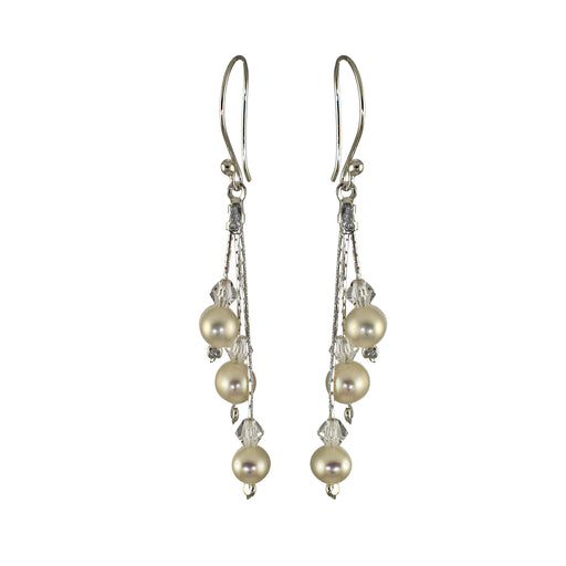 Ella 3 Pearl/Crystal Earrings